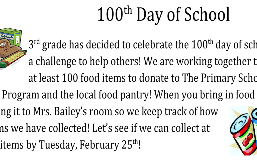 3rd-Grade 100th Day of School Food Drive