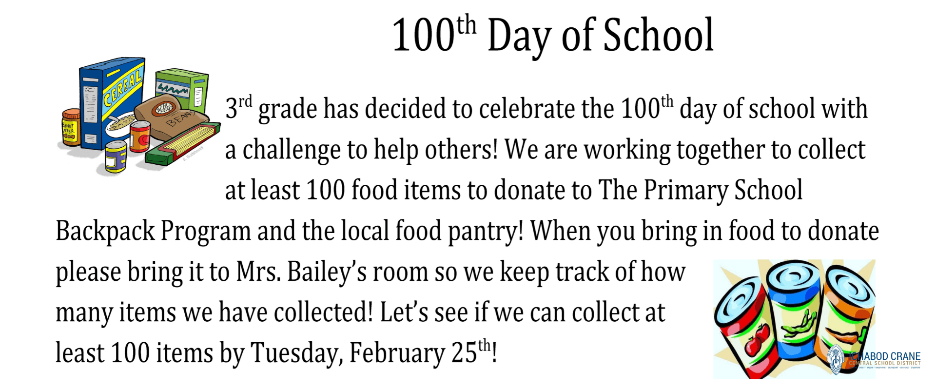 3rd Grade Food Drive for 100th Day of School