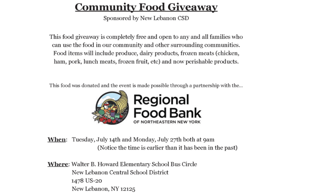 Community Food Giveaway On July 14 & 27