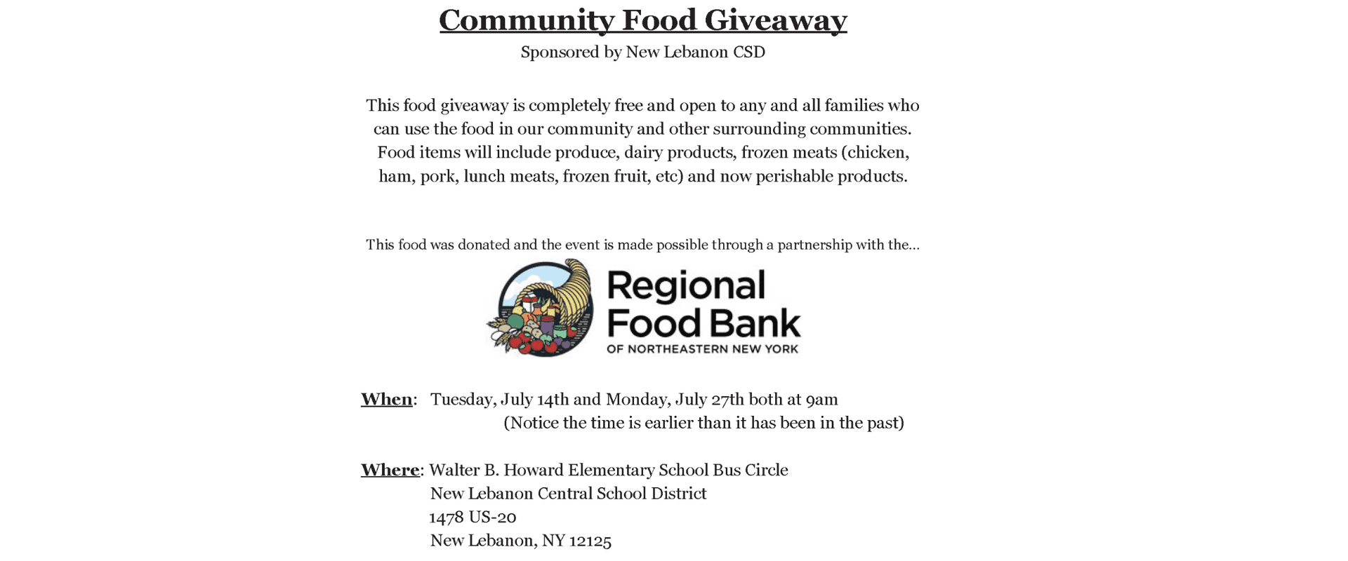 New Lebanon Food Giveaway on July 14 and 27