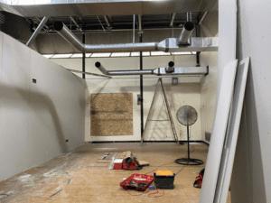 MS Temporary Classroom Sheetrock Installation