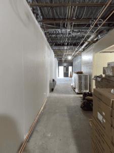 MS 100 Wing Corridor Sheet Rocked