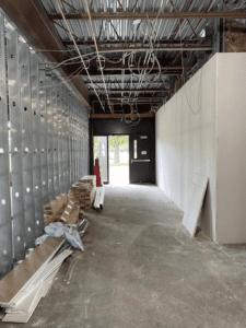 MS 100 Wing Corridor Starting To Be Sheet Rocked