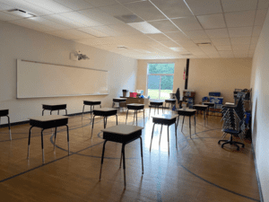 MS Small Gym Temp Classroom, Complete And Set Up