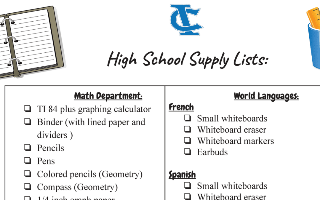 High School Supply Lists