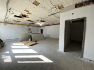 HS Art Suite Room 203 with Sheetrock, Facing Entrance Into Dark Room
